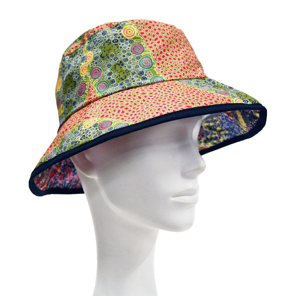 Warrina Designs Bucket Hat Men Women Australian Aboriginal Art Bush Food Dr
